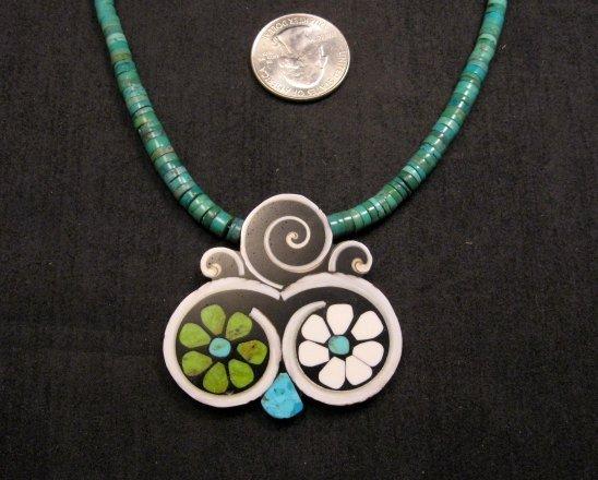 Image 2 of Mary Tafoya Santo Domingo Mosaic Flower Inlay Turquoise Heishi Necklace