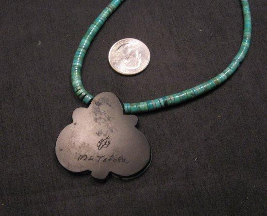 Image 3 of Mary Tafoya Santo Domingo Mosaic Flower Inlay Turquoise Heishi Necklace