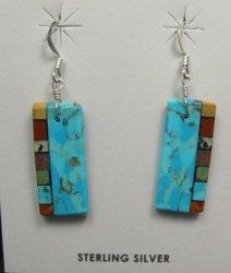 Santo Domingo Kewa Turquoise Inlay Earrings, Mary Tafoya