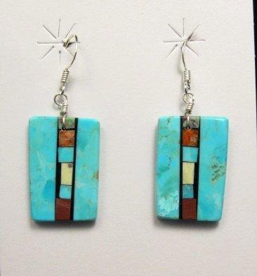 Image 1 of Santo Domingo Kewa Turquoise Double-sided Inlay Earrings, Mary Tafoya