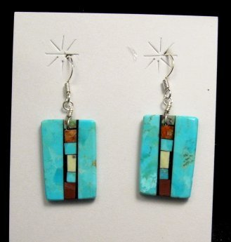 Image 2 of Santo Domingo Kewa Turquoise Double-sided Inlay Earrings, Mary Tafoya