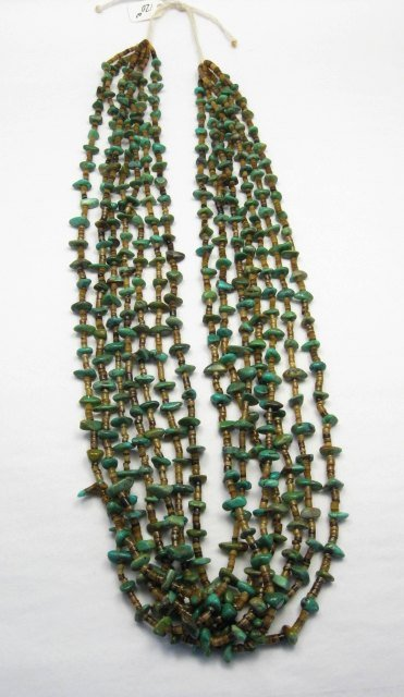 Image 0 of Dead Pawn Native American 7-strand Turquoise Nugget Necklace