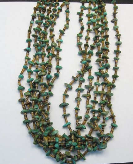 Image 1 of Dead Pawn Native American 7-strand Turquoise Nugget Necklace