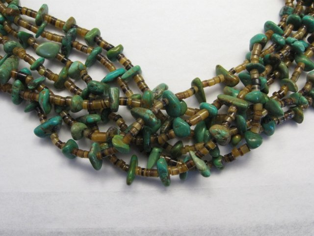 Image 2 of Dead Pawn Native American 7-strand Turquoise Nugget Necklace