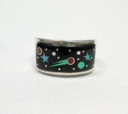 Navajo Multi Stone Inlaid Night Sky Shooting Star Ring sz11, Matthew Jack