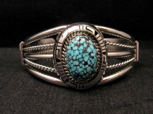 Image 0 of Navajo Native American Kingman Web Turquoise Silver Bracelet, Robert Shakey