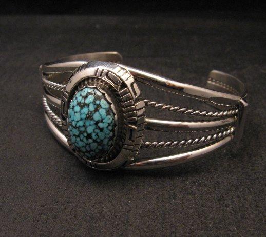 Image 2 of Navajo Native American Kingman Web Turquoise Silver Bracelet, Robert Shakey