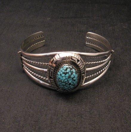 Image 4 of Navajo Native American Kingman Web Turquoise Silver Bracelet, Robert Shakey