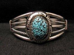 Navajo Native American Kingman Web Turquoise Silver Bracelet, Robert Shakey