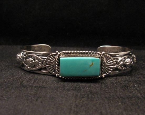 Image 0 of Navajo Native American Royston Turquoise Silver Bracelet, Gilbert Tom