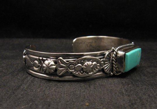Image 1 of Navajo Native American Royston Turquoise Silver Bracelet, Gilbert Tom
