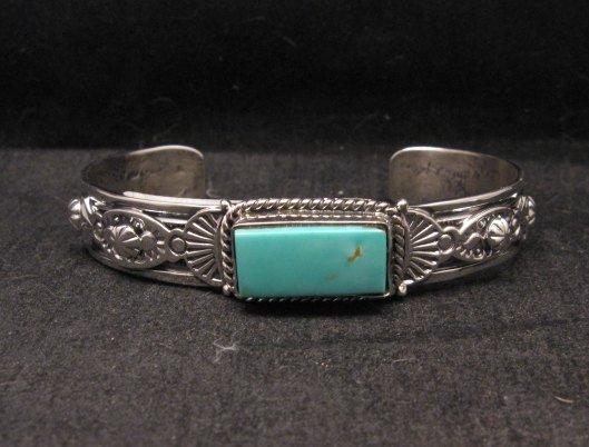 Image 3 of Navajo Native American Royston Turquoise Silver Bracelet, Gilbert Tom