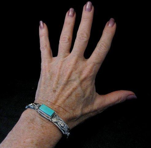 Image 6 of Navajo Native American Royston Turquoise Silver Bracelet, Gilbert Tom