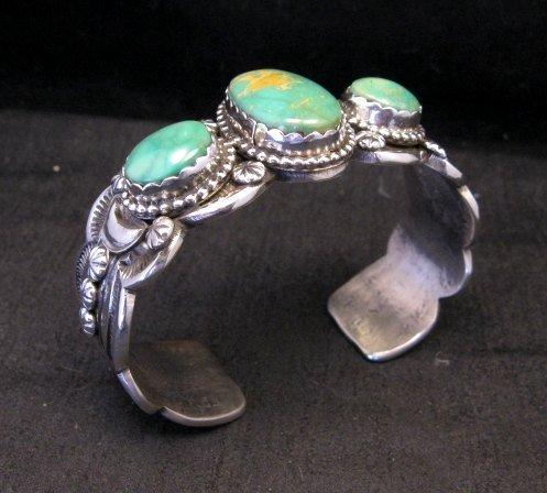 Image 2 of Gilbert Tom Navajo Native American Royston Turquoise Silver Bracelet