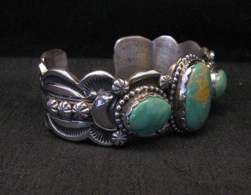 Image 3 of Gilbert Tom Navajo Native American Royston Turquoise Silver Bracelet