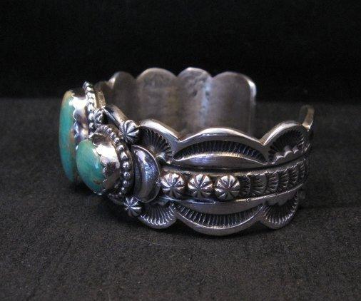 Image 4 of Gilbert Tom Navajo Native American Royston Turquoise Silver Bracelet