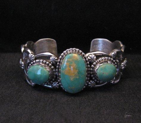 Image 1 of Gilbert Tom Navajo Native American Royston Turquoise Silver Bracelet