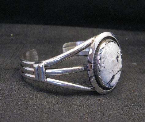 Image 1 of Navajo Indian White Buffalo Sterling Silver Bracelet, Augustine Largo