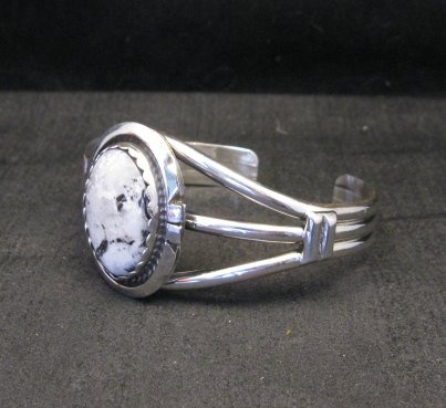 Image 2 of Navajo Indian White Buffalo Sterling Silver Bracelet, Augustine Largo