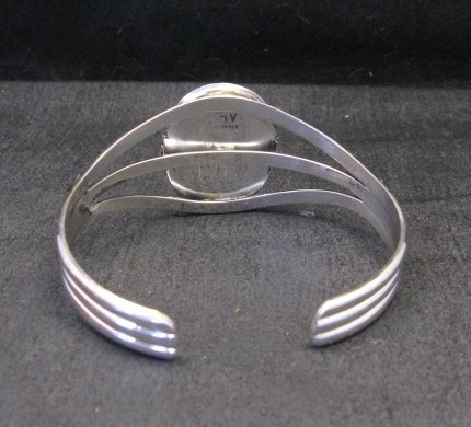 Image 3 of Navajo Indian White Buffalo Sterling Silver Bracelet, Augustine Largo