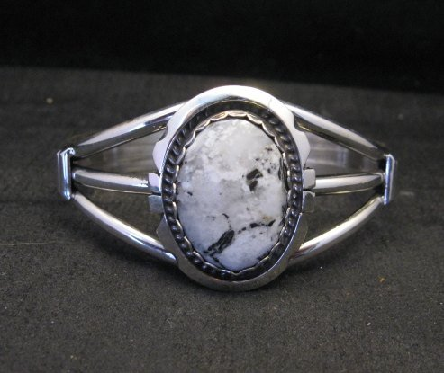 Image 4 of Navajo Indian White Buffalo Sterling Silver Bracelet, Augustine Largo