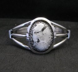 Navajo Indian White Buffalo Sterling Silver Bracelet, Augustine Largo