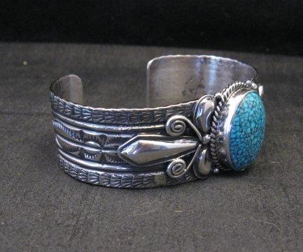 Image 1 of Navajo Handmade Kingman Web Turquoise Silver Bracelet, Gilbert Tom