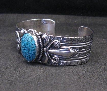 Image 2 of Navajo Handmade Kingman Web Turquoise Silver Bracelet, Gilbert Tom