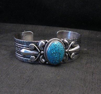 Image 3 of Navajo Handmade Kingman Web Turquoise Silver Bracelet, Gilbert Tom