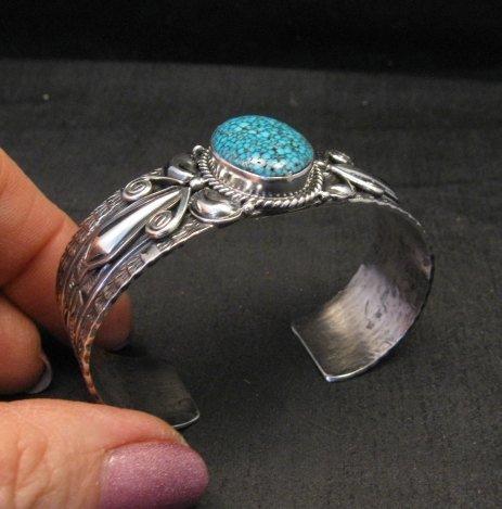 Image 4 of Navajo Handmade Kingman Web Turquoise Silver Bracelet, Gilbert Tom