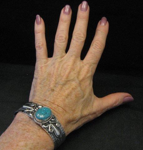 Image 5 of Navajo Handmade Kingman Web Turquoise Silver Bracelet, Gilbert Tom