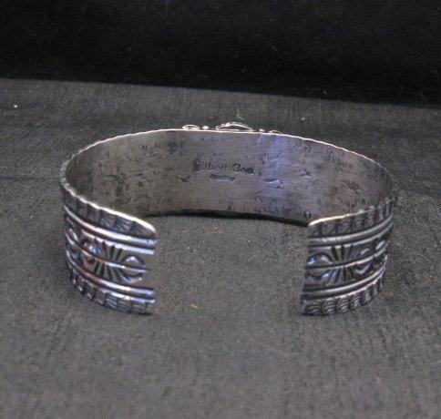 Image 6 of Navajo Handmade Kingman Web Turquoise Silver Bracelet, Gilbert Tom