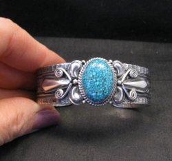 Navajo Handmade Kingman Web Turquoise Silver Bracelet, Gilbert Tom