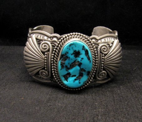Image 7 of Navajo Michael & Rose Calladitto Sleeping Beauty Turquoise Silver Cuff Bracelet