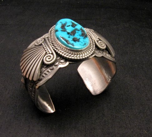 Image 5 of Navajo Michael & Rose Calladitto Sleeping Beauty Turquoise Silver Cuff Bracelet