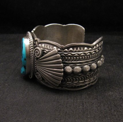 Image 1 of Navajo Michael & Rose Calladitto Sleeping Beauty Turquoise Silver Cuff Bracelet
