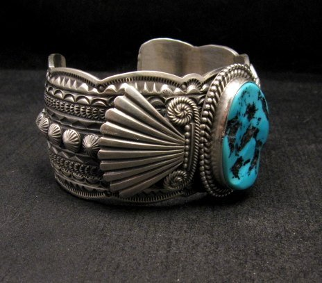 Image 2 of Navajo Michael & Rose Calladitto Sleeping Beauty Turquoise Silver Cuff Bracelet