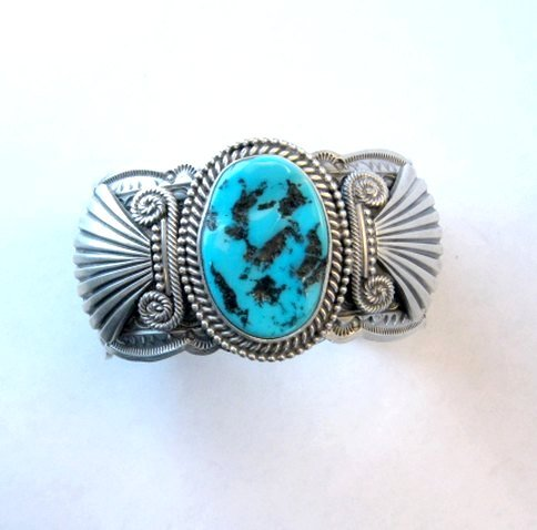 Image 3 of Navajo Michael & Rose Calladitto Sleeping Beauty Turquoise Silver Cuff Bracelet