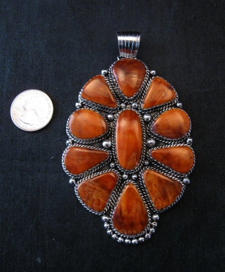 Image 0 of Huge Native American Navajo Spiny Oyster Cluster Pendant, Marie Bahe
