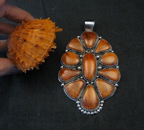 Image 5 of Huge Native American Navajo Spiny Oyster Cluster Pendant, Marie Bahe