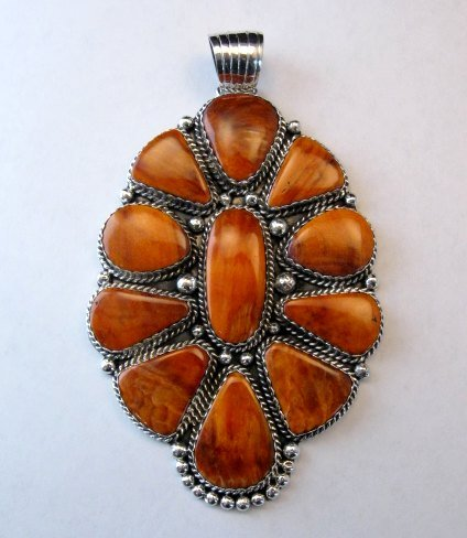 Image 1 of Huge Native American Navajo Spiny Oyster Cluster Pendant, Marie Bahe