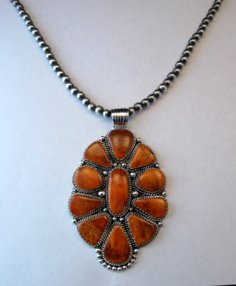 Image 2 of Huge Native American Navajo Spiny Oyster Cluster Pendant, Marie Bahe