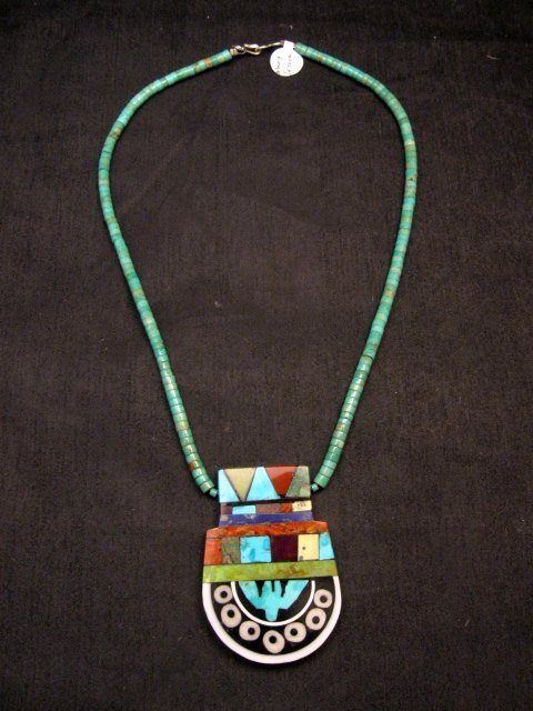 Image 0 of Mary Tafoya Santo Domingo Mosaic Inlay Turquoise Heishi Necklace