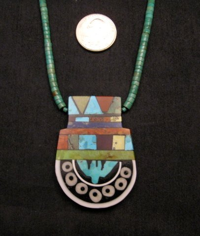 Image 1 of Mary Tafoya Santo Domingo Mosaic Inlay Turquoise Heishi Necklace