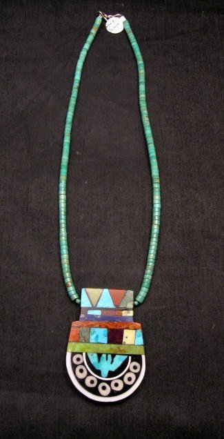 Image 3 of Mary Tafoya Santo Domingo Mosaic Inlay Turquoise Heishi Necklace
