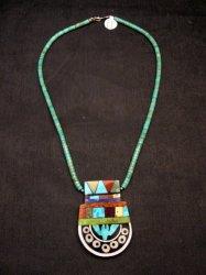 Mary Tafoya Santo Domingo Mosaic Inlay Turquoise Heishi Necklace
