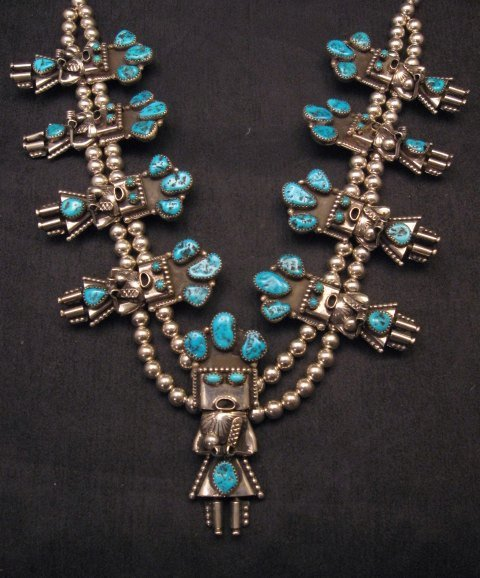 Image 1 of Doris Smallcanyon Navajo Turquoise Kachina Silver Bead Necklace