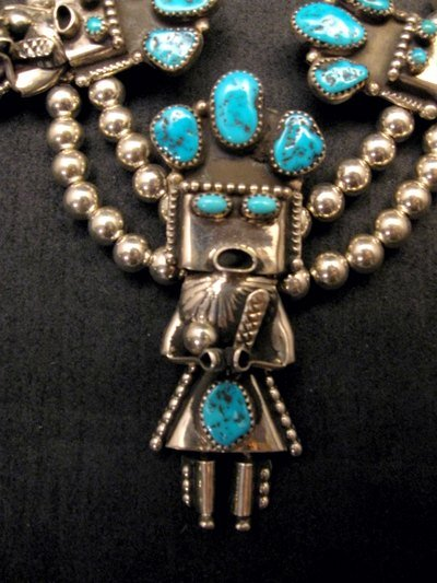Image 2 of Doris Smallcanyon Navajo Turquoise Kachina Silver Bead Necklace