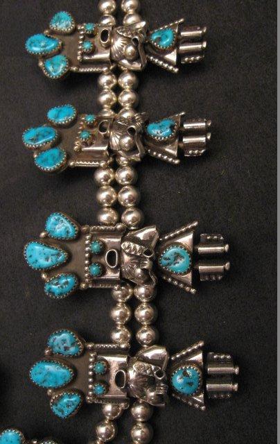 Image 4 of Doris Smallcanyon Navajo Turquoise Kachina Silver Bead Necklace