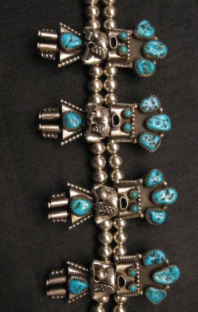 Image 3 of Doris Smallcanyon Navajo Turquoise Kachina Silver Bead Necklace